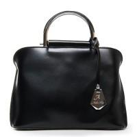 Кожаная сумочка с металлическими ручками небольшая №8765